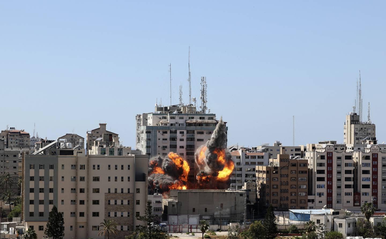 Høyblokka som huset kontorene til nyhetsbyråene AP, AFP og Reuters, samt TV-stasjonen Al Jazeera og en rekke andre medier, ble 15. mai lagt i grus i et israelsk angrep.