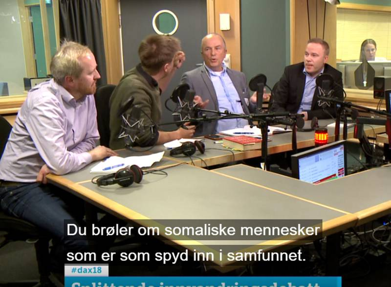 Det ble hissig i studio da Rune Berglund Steen (f.v), Eivind Trædal, Hans Rustad og Helge Lurås møttes til debatt.