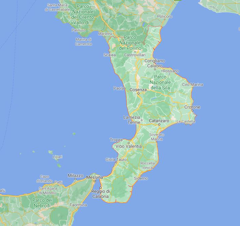 Den italienske regionen Calabria, helt i sør i landet