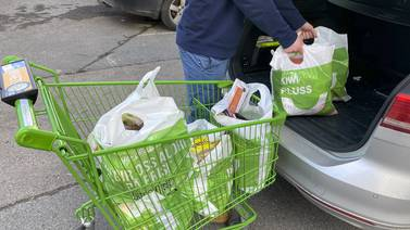 Vi hiver åtte handleposer hver med mat per år