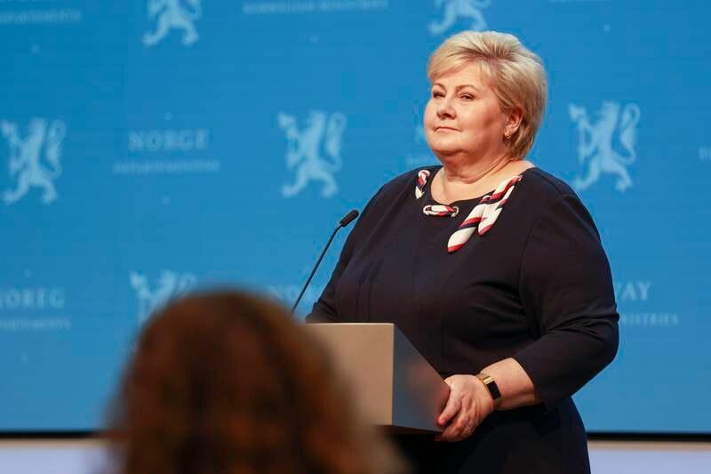 Statsminister Erna Solberg (H) holdt pressekonferansen om koronasituasjonen onsdag. Bildet er fra en annen pressekonferanse.