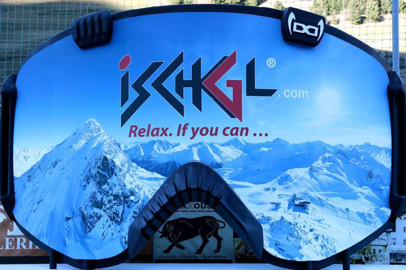 A giant advertising goggle reading the slogan 'relax, if you can' stands in Ischgl, Austria, Thursday, Nov. 26, 2020. The Austrian government imposed a second lockdown to slow down the ongoing pandemic of the COVID-19 disease caused by the SARS-CoV-2 coronavirus from Nov. 17, 2020 until at least Dec. 6, 2020. (AP Photo/Matthias Schrader)
