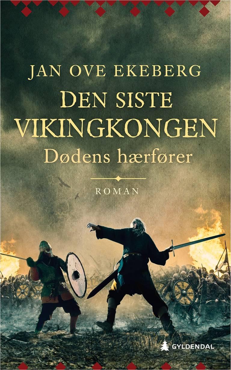"""Omslaget til boken """"Dødens hærfører"""", som viser en mann med sverd som hugger mot en annen mann med skjold, på en slagmark."""