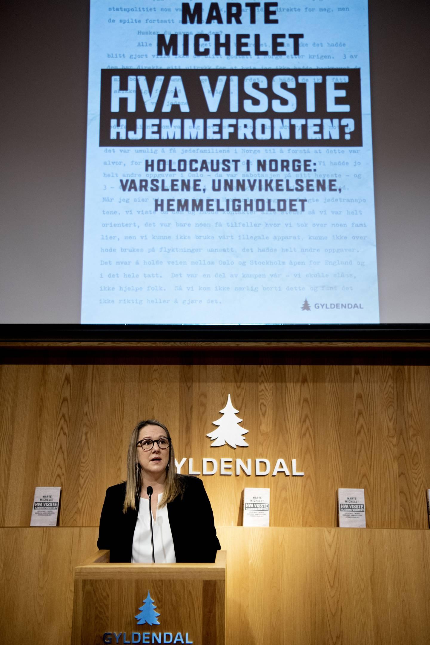 Marte Michelet. Forfatter. Utkommer med boka Hva visste hjemmefronten? Holocaust i Norge: varslene, unnvikelsene, hemmeligholdet.