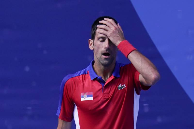 Novak Djokovic tapte bronsekampen i OL-tennisen lørdag. Foto: Seth Wenig / AP / NTB