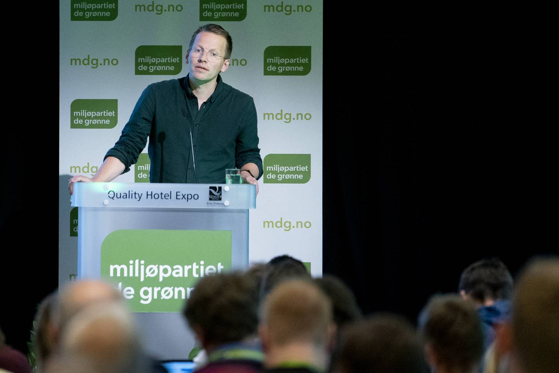 Trygve Svensson fra Agenda. Her fra da han talte på Miljøpartiet De Grønne sitt landsmøte.
