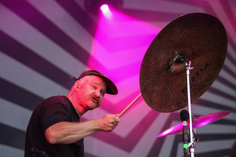 Martin Horntveth i Jaga Jazzist, hovednavnet på den første kvelden av Øyafestivalen 2021, et band som også spilte på den aller første Øyafestivalen da den ble arrangert på Kalvøya.