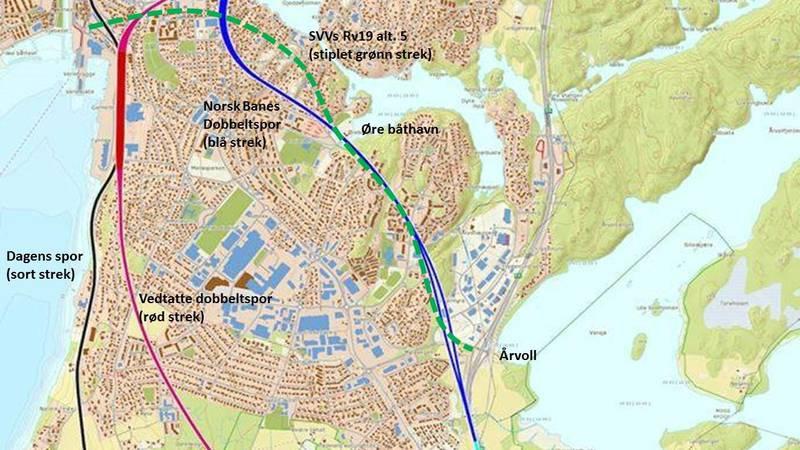 Myraalternativet (blå strek) og Rv19 (grønn stiplet strek) fra Moss sentrum til Årvoll.