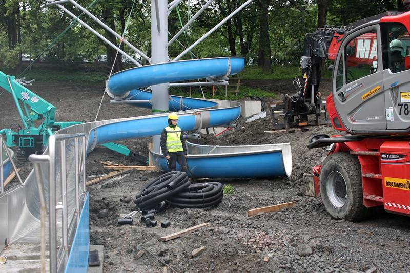 Den nye vannsklia i Frognerbadet vil stå klart til bruk i juli.
