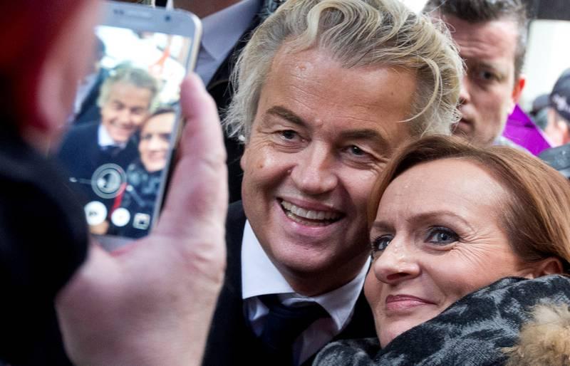 Geert Wilders har ikke mange offentlige opptredener, men denne uka var han på valgkamptreff i Breda i Nederland, der han møtte fans.