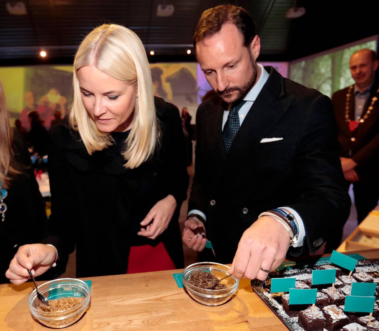 """ÅS  20170323. Kronprinsesse Mette Marit og kronprins Haakon under visningen av posten """"Uten insekter - ingen mat"""" hvor kronprinsessen nektet å spise siriser, melbiller og gresshopper under besøket på Norges miljø- og biovitenskapelige universitet (NMBU) på Ås torsdag. Kronprinsen derimot tok en bit av brownie med melbiller til pynt. Foto: Lise Åserud / NTB scanpix"""