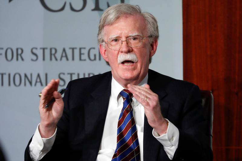 FILE - In this Sept. 30, 2019, file photo, former national security adviser John Bolton gestures while speakings at the Center for Strategic and International Studies in Washington. (AP Photo/Pablo Martinez Monsivais, File)