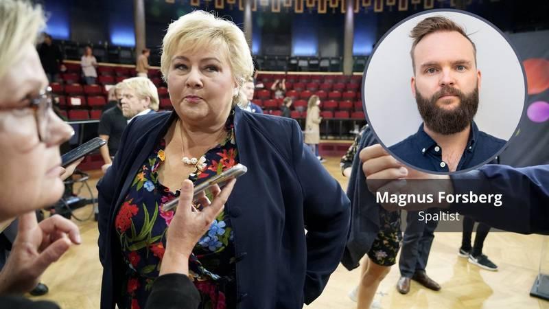 Statsminister Erna Solberg (H), her avbildet etter folkemøte med statsministerkandidatene på Studentersamfundet i Trondheim i regi av NRK. Magnus Forsberg innfelt.