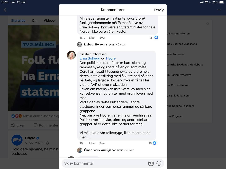Elisabeth Thoresen kritiserer Høyre og   statsminister Erna Solberg.