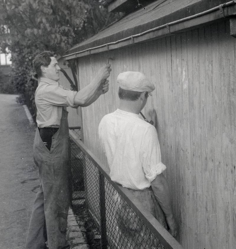 Pliktarbeidet er en viktig faktor i kolonisttilværelsen. Her fra malearbeid utført i juni 1947.