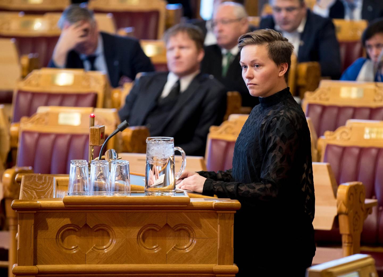 Oslo  20180207. Solfrid Lerbrekk (SV) i stortingets spørretime. Foto: Vidar Ruud / NTB