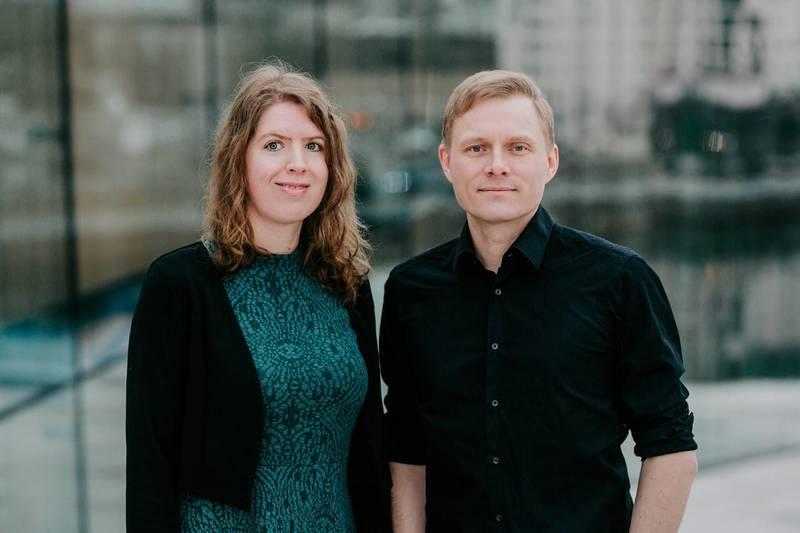 Stine Sørlie, nestleder i  Norsk Komponistforening, og Jørgen Karlstrøm, styreleder i Norsk Komponistforening. FOTO: RENATE MADSEN.