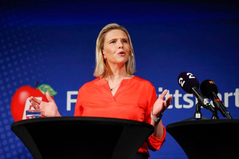 Frp-leder Sylvi Listhaug holdt torsdag tale under partiets valgkampåpning på The Hub i Oslo. Foto: Beate Oma Dahle / NTB