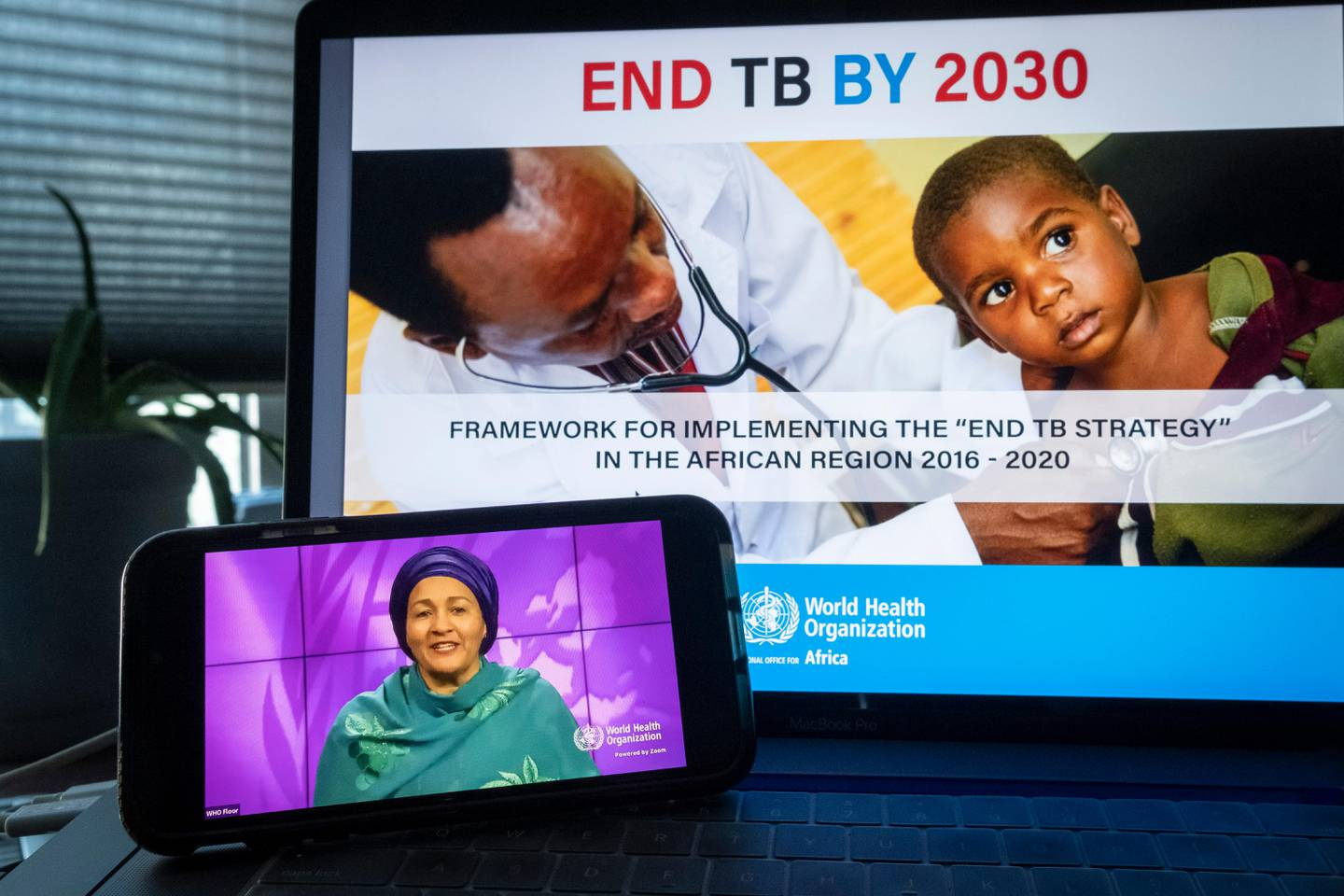 """In this photo provided by the United Nations, Amina Mohammed, Deputy UN Secretary General, is seen on the monitor at lower left, delivering a message at an event entitled """"Progress and Multisectoral Action towards Achieving Global Targets to End TB"""" at United Nations headquarters, Thursday, Sept. 23, 2020. (Loey Felipe/United Nations via AP)"""