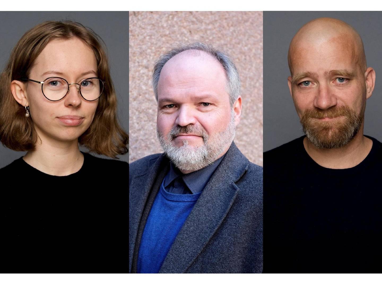 Historikerne Elise Berggren, Bjarte Bruland og Mats Tangestuen.Foto: Dreyers forlag