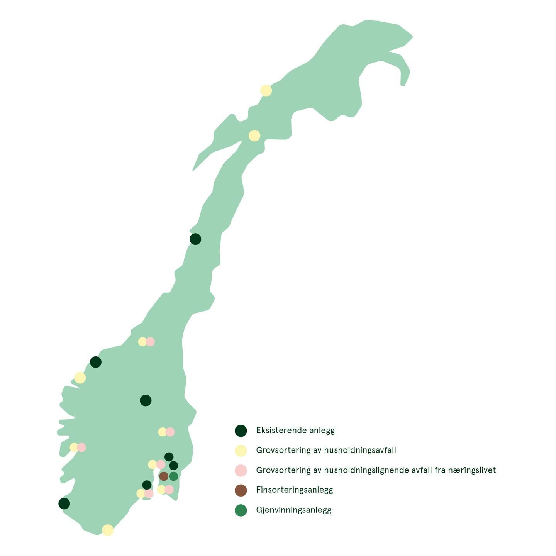 Slik foreslås de 18 nye anleggene fordelt på ti norske byer.