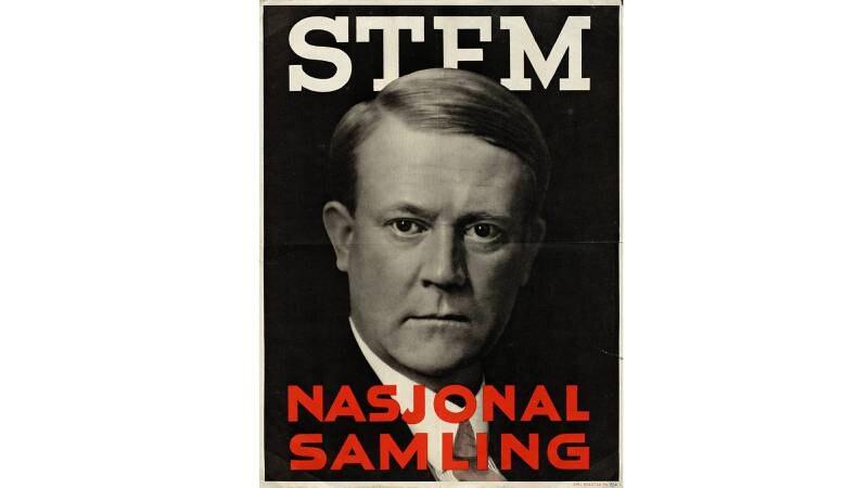 Etter hvert ble det vanlig med portretter av partilederne på valgplakatene. Her er NS' Vidkun Quisling i 1933. FOTO: Nasjonalbiblioteket, plakatsamlingen