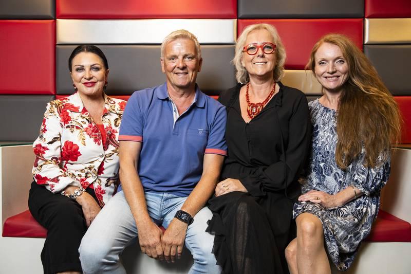 Høstlanseringen til TVNorge 2018: Fra venstre Lilli Bendriss, Tom Strømnæss, Lena Ranehag og Anne Kristine Augestad i Åndenes makt-redaksjonen.