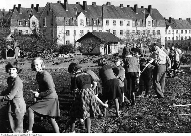 Jenter som visste hva en spade var på begynnelsen av 1950-tallet.