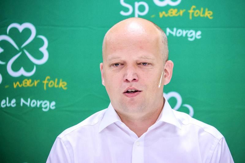 Partileder i Senterpartiet, Trygve Slagsvold Vedum, under Senterpartiets oppsummerende pressekonferanse.