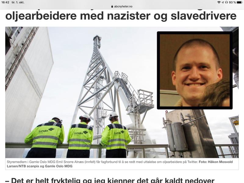Styremedlem i Gamle Oslo MDG Emil Snorre Alnæs (innfelt) får fagforbund til å se rødt med uttalelse om oljearbeidere på Twitter.