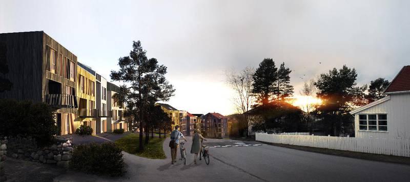 Nye Fagerlia sett fra toppen av bakken, med de såkalte byhusene, eller rekkehusene, øverst.
