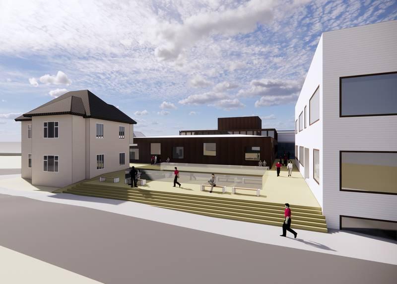 St. Olav videregående skole skal etter planen for 5000 nye kvadratmeter. Slik kan det bli seende ut i krysset Eiganesveien-Wessels gate