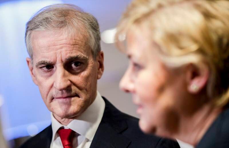 Statsminister Erna Solberg i en duell med Jonas Gahr Støre om svart økonomi, Fagforbundet og NTL arrangerer møtet. Foto: Vidar Ruud / NTB