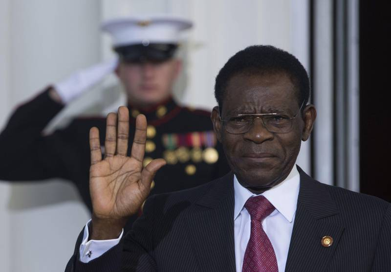 (FILES) In this file photo taken on August 06, 2014 Equatorial Guinea's President Teodoro Obiang Nguema arrives at the White House for a group dinner during the US Africa Leaders Summit, in Washington, DC. - Teodoro Obiang Nguema, president of Equatorial Guinea for 40 years on August 3, 2019, is the world's longest-serving living leader apart from Britain's Queen Elizabeth II, on the throne for 67 years. (Photo by Brendan SMIALOWSKI / AFP)