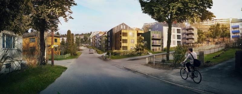 Fagerlia slik det kan bli seende ut når de nye boligene er på plass.