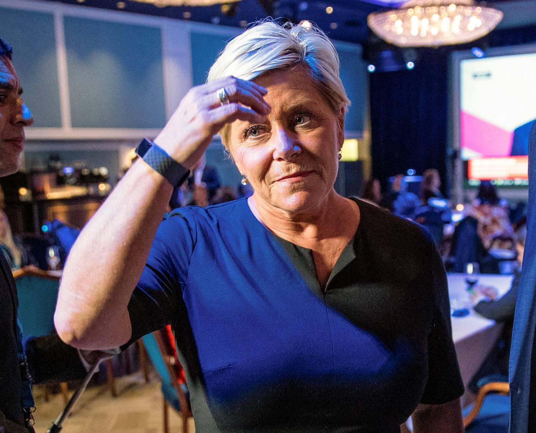 Oslo 20190909.  Siv Jensen under valgvaken til Fremskrittspartiet på Hotel Bristol i Oslo. Foto: Stian Lysberg Solum / NTB scanpix