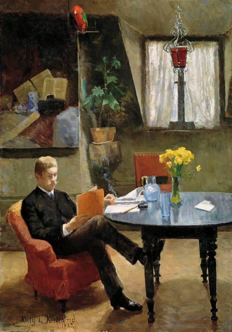Kitty Kielland var en utmerket interiørmaler. Hun hadde et nært vennskap med forfatteren Arne Garborg. I 1887 portretterte hun ham «i malerinnens atelier i Paris». FOTO: NASJONALMUSEET FOR KUNST, ARKITEKTUR OG DESIGN