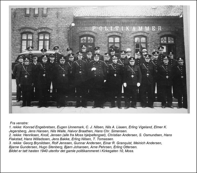 """Moss politidistrikt. Høsten 1940. Bildet er utlånt av redaksjonskomiteen til """"Moss politidistrikt 1875-2018""""."""