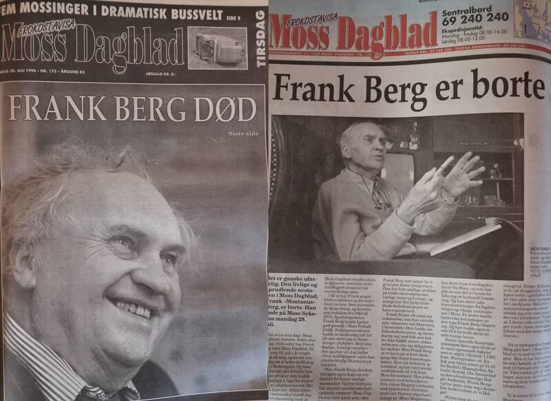 """Frank """"Montanus"""" Berg, legendarisk redaktør, reportasjesjef og journalist i Moss Dagblad."""