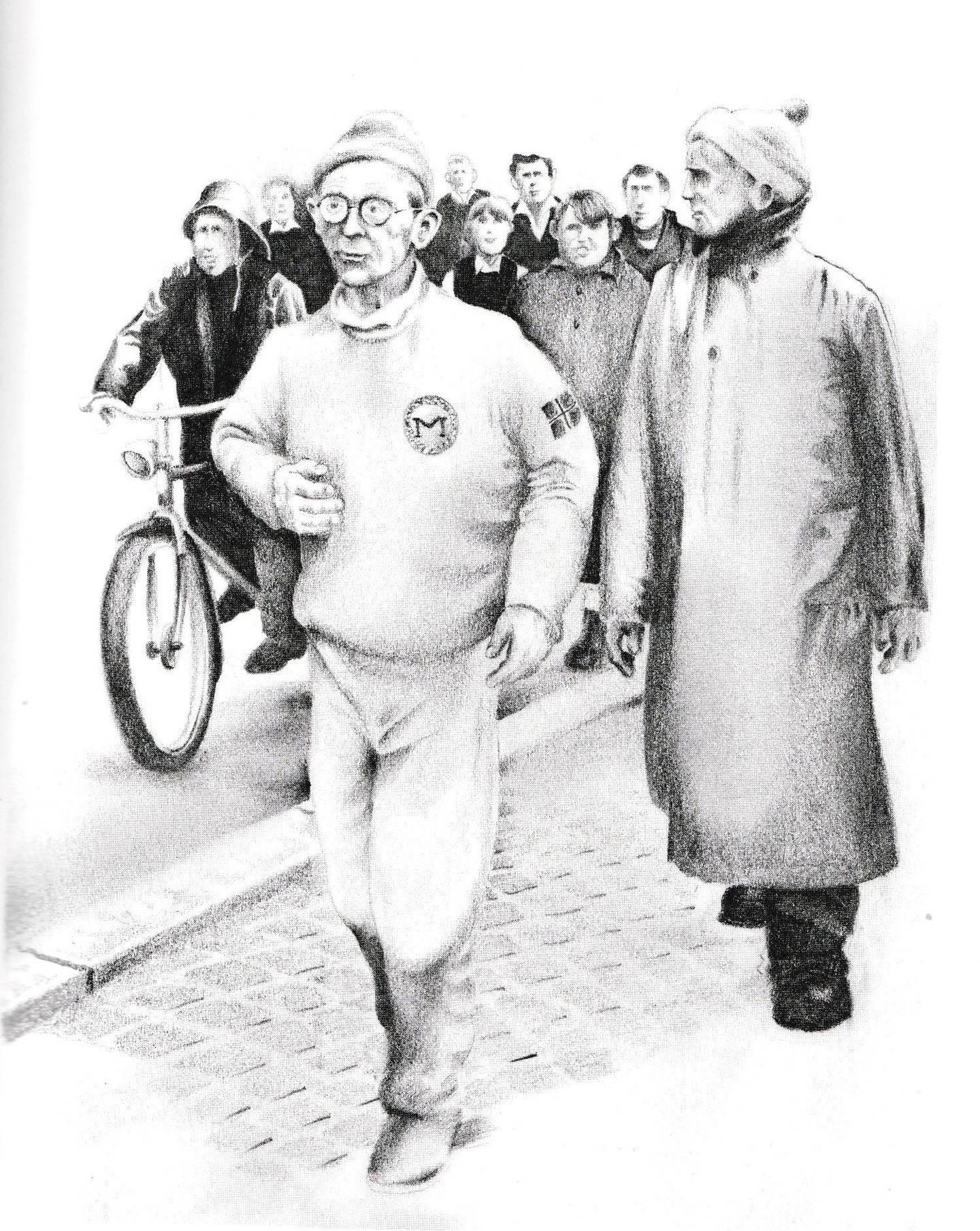 """Den vandrende skomaker fra Moss. Karl Arthur Andersen. """"Skomakeren som gikk fra sin lest"""". Fra boka Byoriginaler"""" av Frank Berg."""