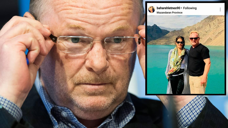 Per Sandberg er i hardt vær etter sin ferie i Iran. Innfelt: Fra Instagramkontoen til Bahareh Letnes.