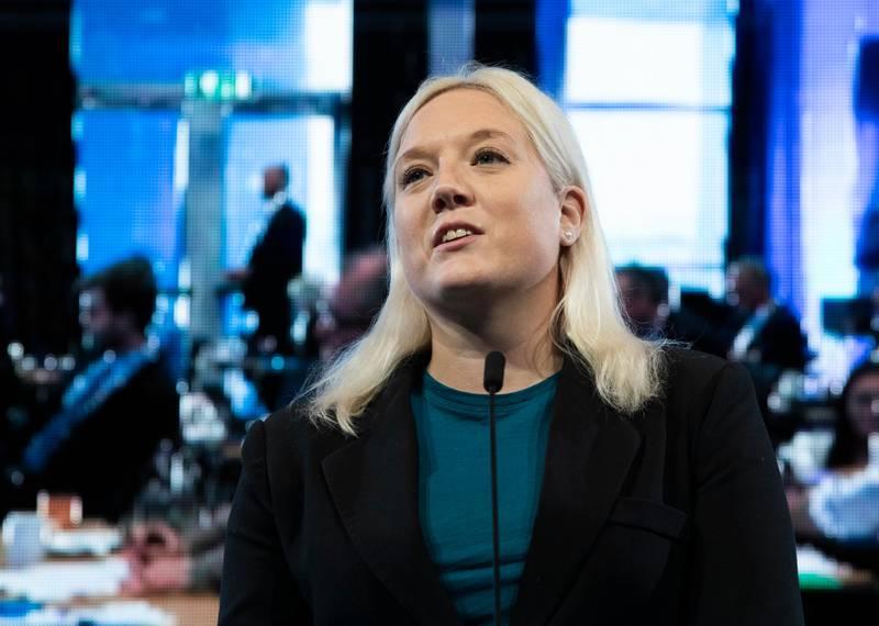 Gardermoen, NORGE 20201017.  Aina Stenersen, leder for Helse- og sosialutvalget i Oslo kommune, på talerstolen under Fremskrittspartiets landsmøte på Gardermoen. Foto: Berit Roald / NTB
