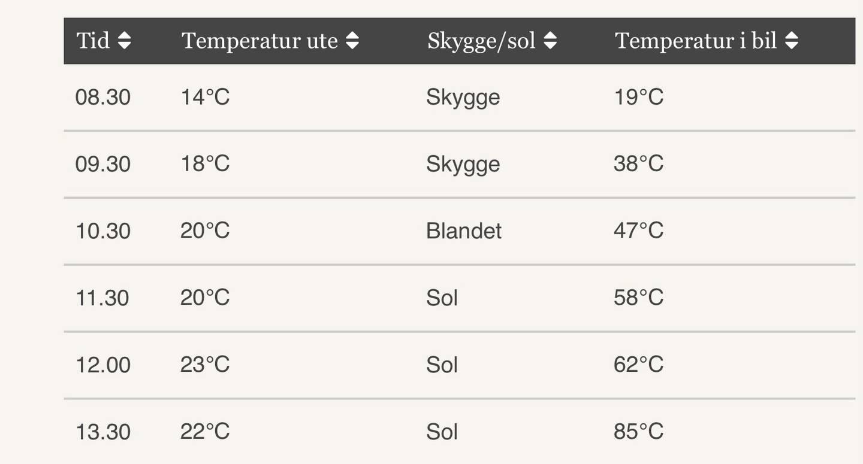 Her kan du se hvor fort bilen kan bli varm på en sommerdag.