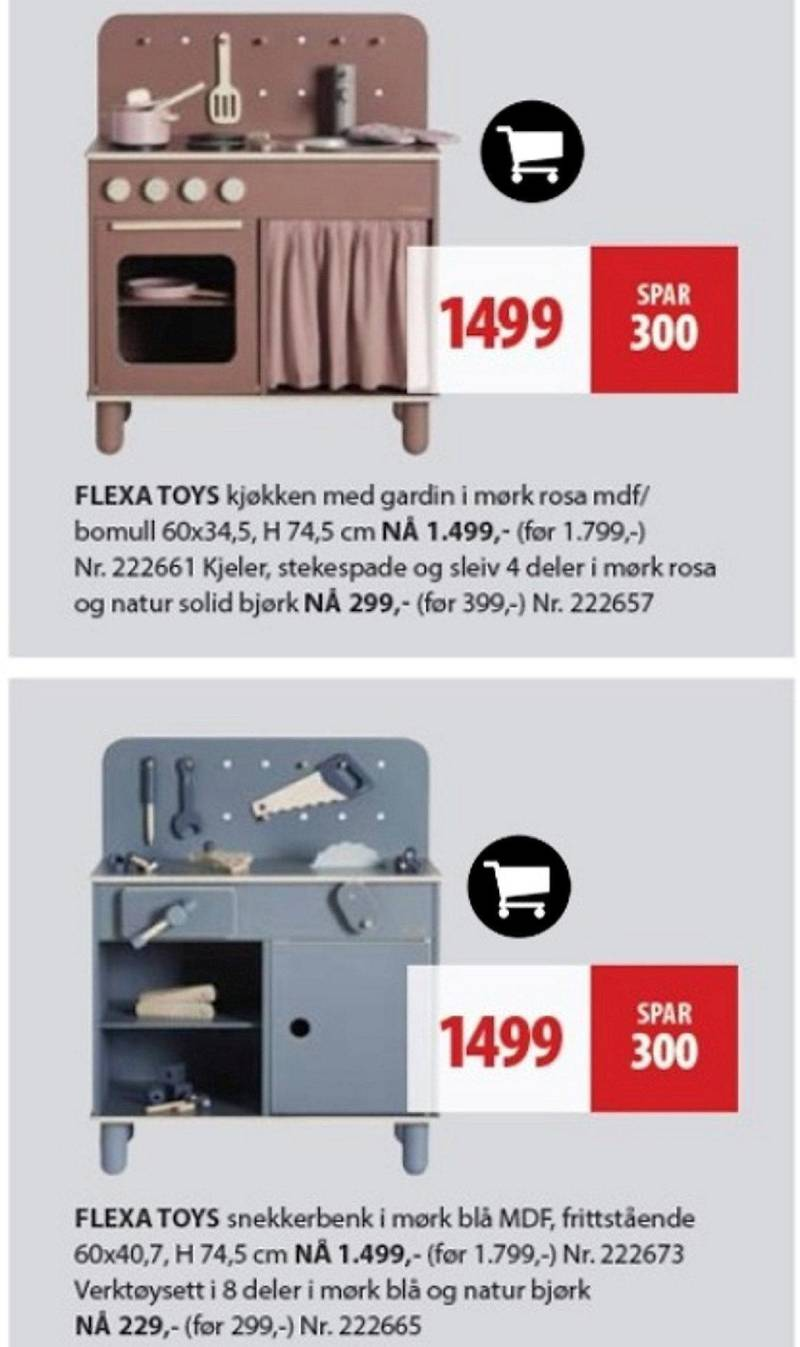 gutteblått og jenterosa: Leketøyene «The Workbench» og «The Kitchen». Skjermdump av Bohus' kampanjeavis