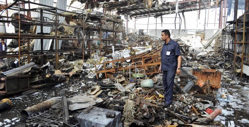 kjøper: En av kjøperne av norsk militærmateriell, Saudi-Arabia, har ledet flere flyangrep som            har ført til store ødeleggelser i Jemen. FOTO: ABDULJABBAR ZEYAD/NTB SCANPIX