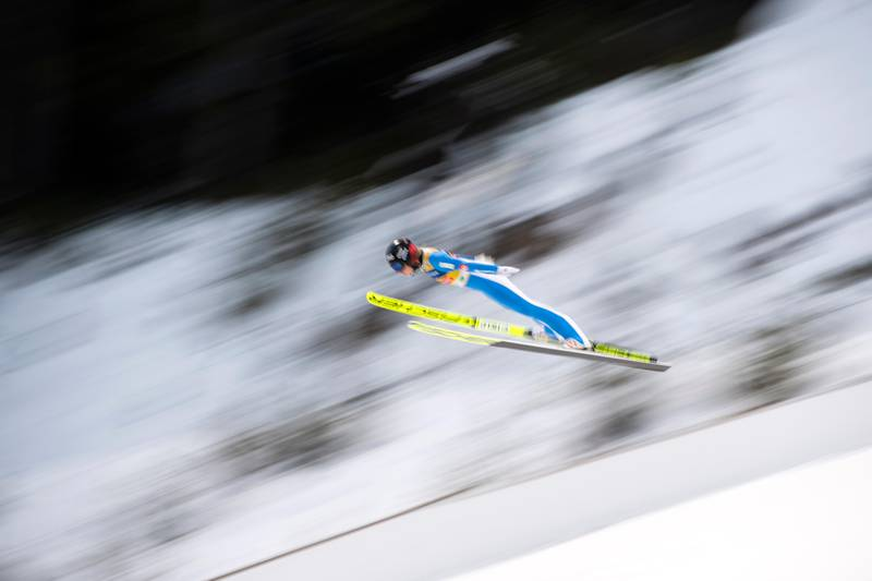 Maren Lundby of Norway soars through the air during the women's HS 98 ski jumping competiton at the Nordic Combined World Cup competition in Ramsau, Austria, Friday, Dec. 18, 2020. (AP Photo/Andreas Schaad)
