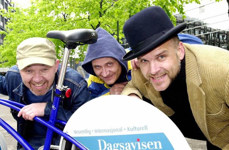Originalbesetningen av Tre Små Kinesere, Ulf Risnes med Bård Slagsvold og Øystein Hegge.