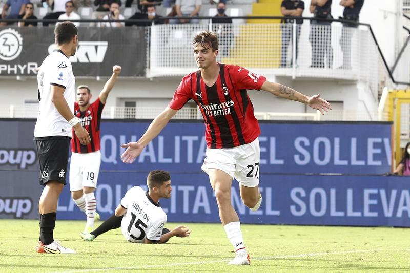Daniel Maldini scoret for Milan i 2-1-seieren over Spezia. Foto: Tano Pecoraro / LaPresse via AP / NTB