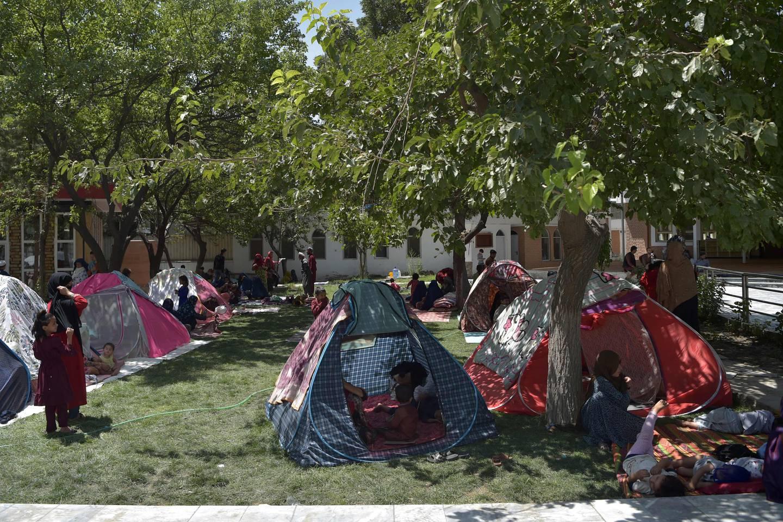 Internt fordrevne afghanere satte opp telt i Kabul tidligere i august.