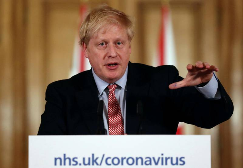 British Prime Minister Boris Johnson holds a news conference addressing the government's response to the coronavirus outbreak, at Downing Street in London, Britain March 12, 2020. REUTERS/Simon Dawson/Pool